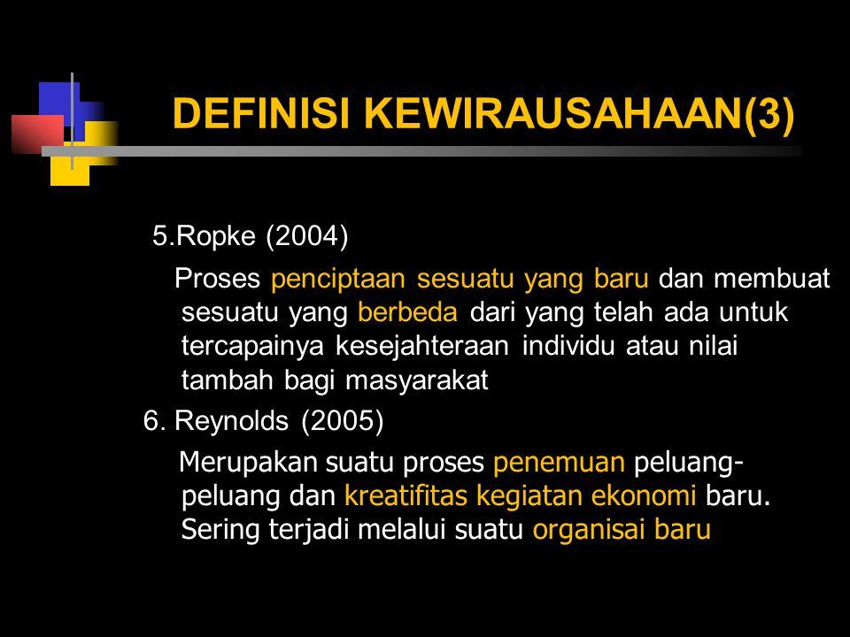 DEFINISI KEWIRAUSAHAAN(3) 5.Ropke (2004) Proses penciptaan sesuatu yang baru dan membuat sesuatu yang berbeda dari yang telah ada untuk tercapainya ke