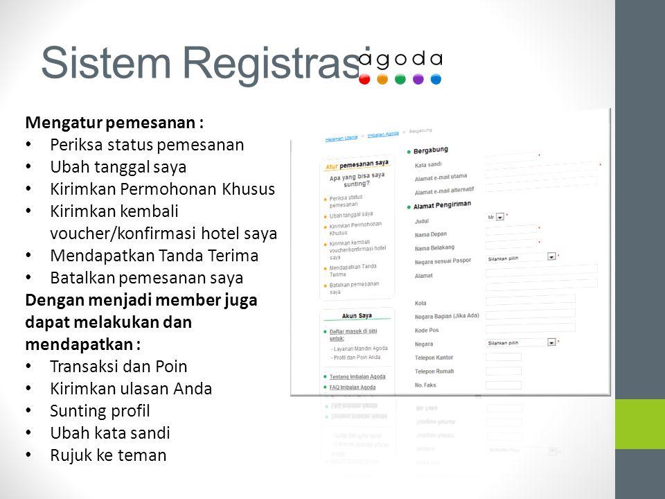 Sistem Registrasi Mengatur pemesanan : Periksa status pemesanan Ubah tanggal saya Kirimkan Permohonan Khusus Kirimkan kembali voucher/konfirmasi hotel