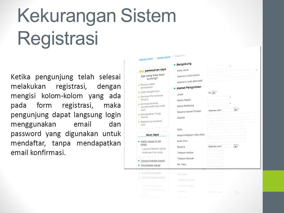 Kekurangan Sistem Registrasi Ketika pengunjung telah selesai melakukan registrasi, dengan mengisi kolom-kolom yang ada pada form registrasi, maka peng