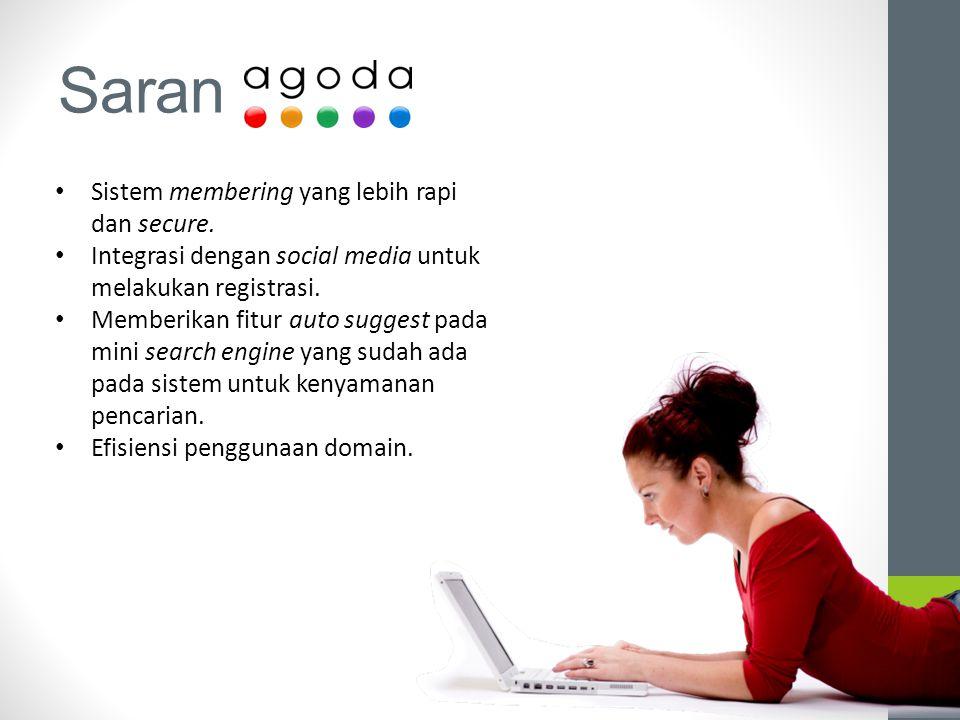 Saran Sistem membering yang lebih rapi dan secure. Integrasi dengan social media untuk melakukan registrasi. Memberikan fitur auto suggest pada mini s