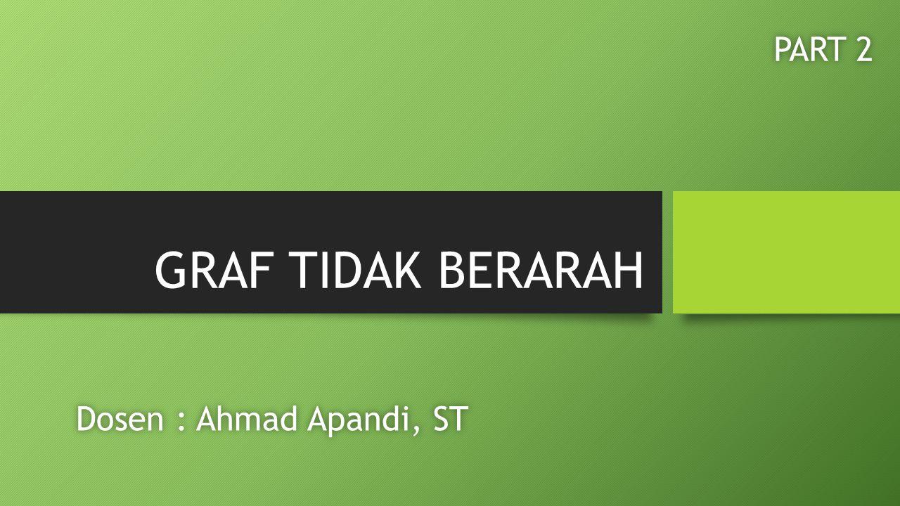 GRAF TIDAK BERARAH Dosen : Ahmad Apandi, STDosen : Ahmad Apandi, ST PART 2PART 2