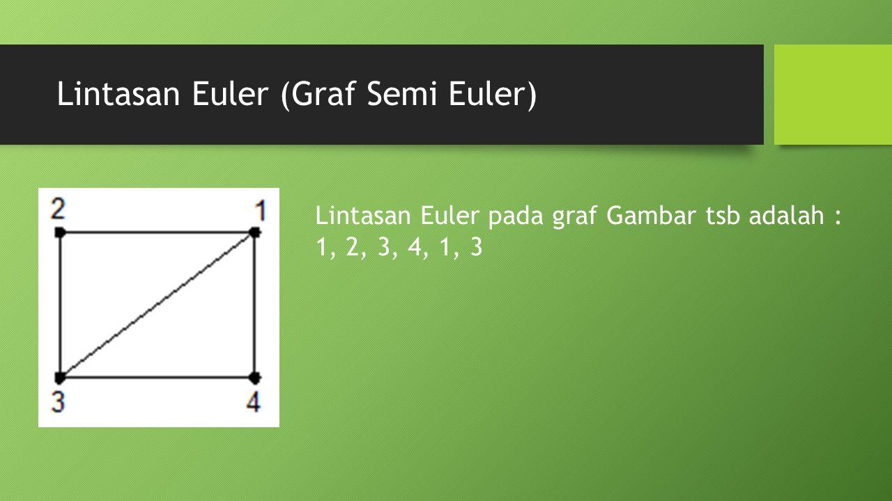 Lintasan Euler (Graf Semi Euler) Lintasan Euler pada graf Gambar tsb adalah : 1, 2, 3, 4, 1, 3