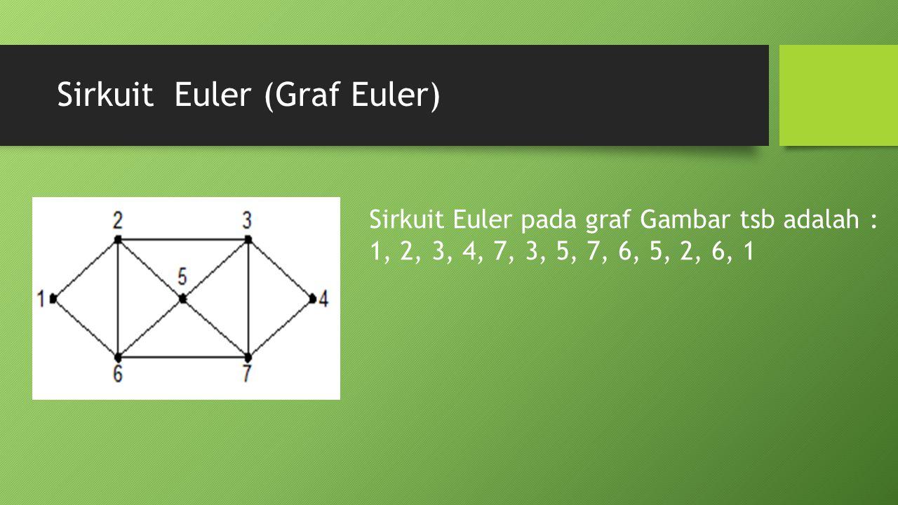 Sirkuit Euler (Graf Euler) Sirkuit Euler pada graf Gambar tsb adalah : 1, 2, 3, 4, 7, 3, 5, 7, 6, 5, 2, 6, 1