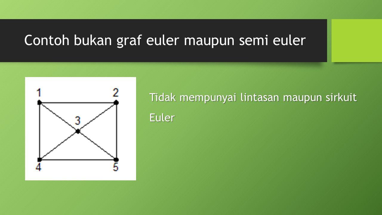 Contoh bukan graf euler maupun semi euler Tidak mempunyai lintasan maupun sirkuit Euler