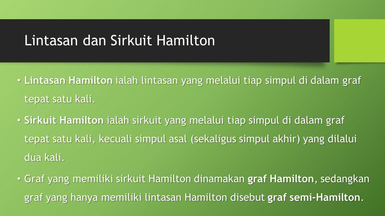 Lintasan dan Sirkuit Hamilton Lintasan Hamilton ialah lintasan yang melalui tiap simpul di dalam graf tepat satu kali.