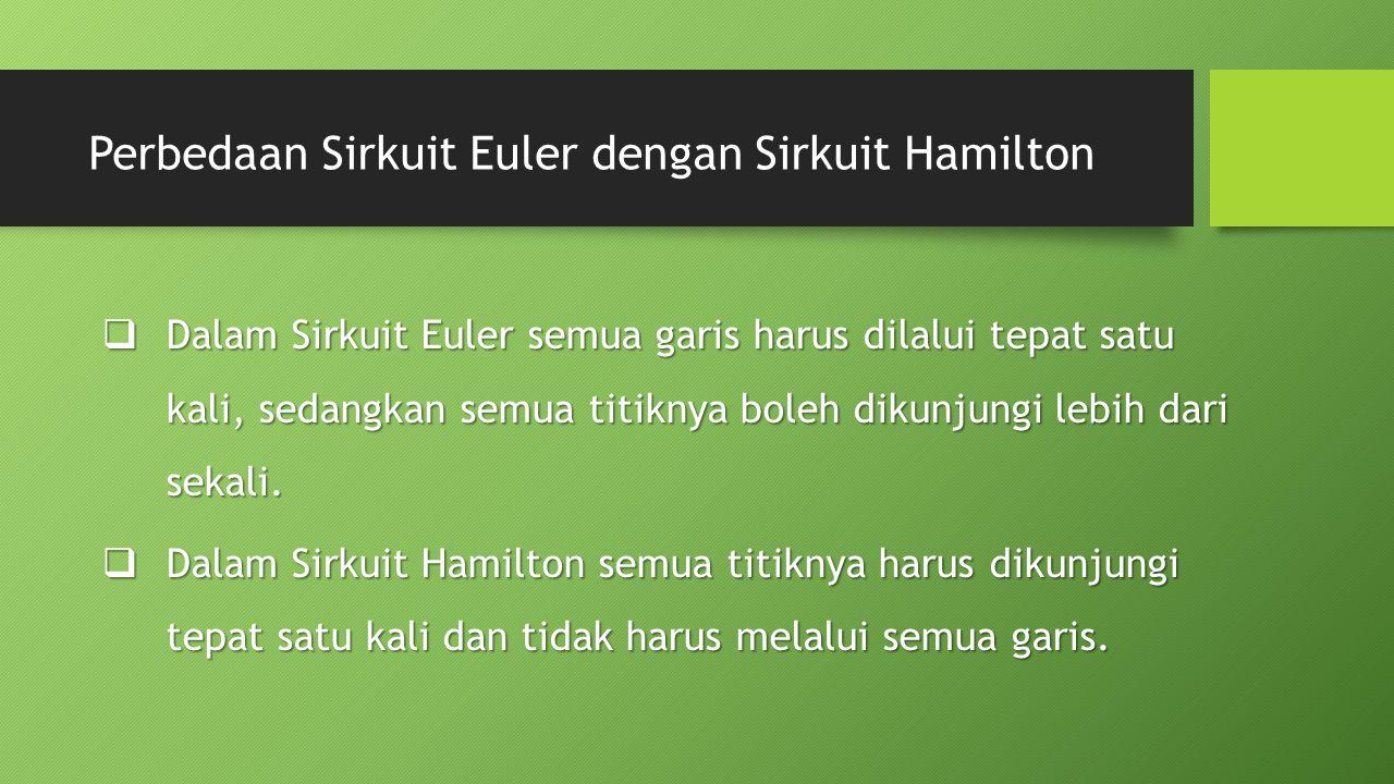 Perbedaan Sirkuit Euler dengan Sirkuit Hamilton  Dalam Sirkuit Euler semua garis harus dilalui tepat satu kali, sedangkan semua titiknya boleh dikunjungi lebih dari sekali.