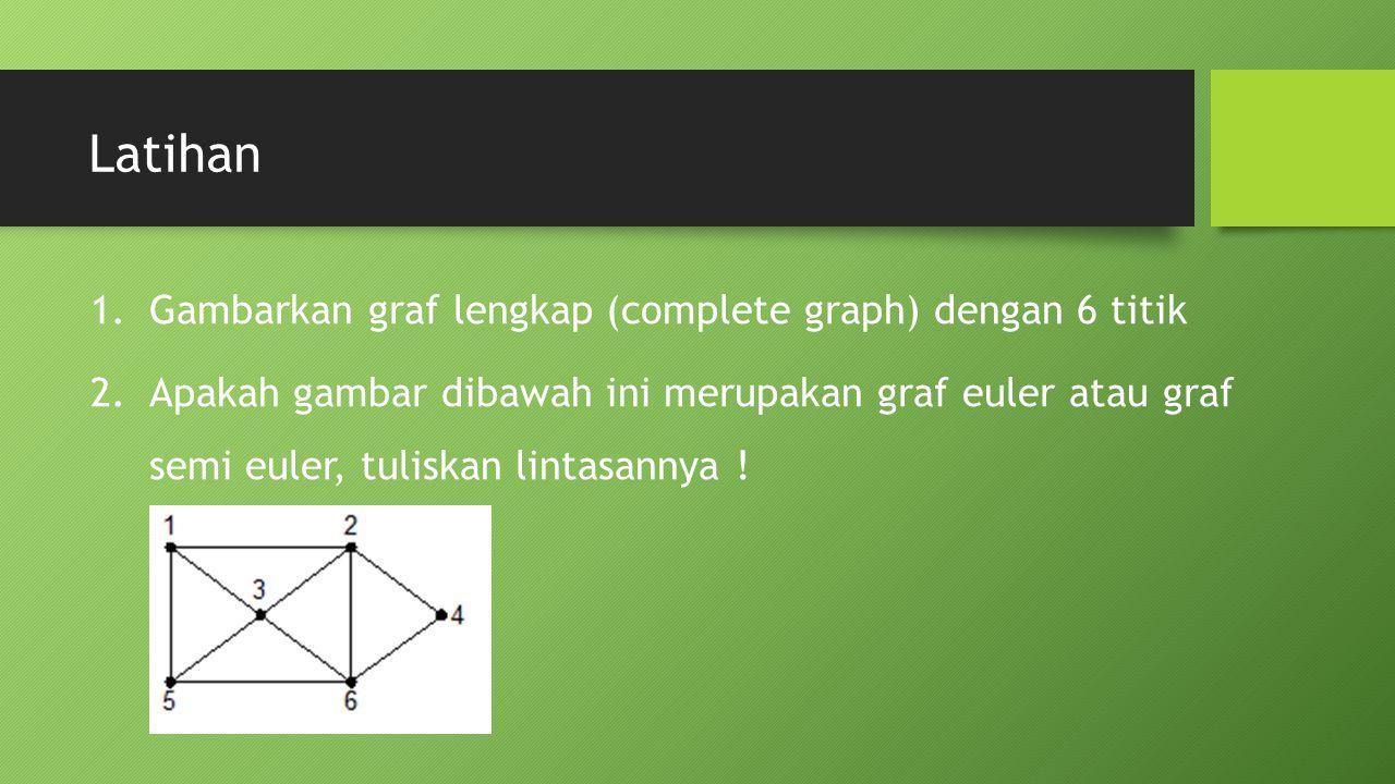 Latihan 1.Gambarkan graf lengkap (complete graph) dengan 6 titik 2.Apakah gambar dibawah ini merupakan graf euler atau graf semi euler, tuliskan lintasannya !