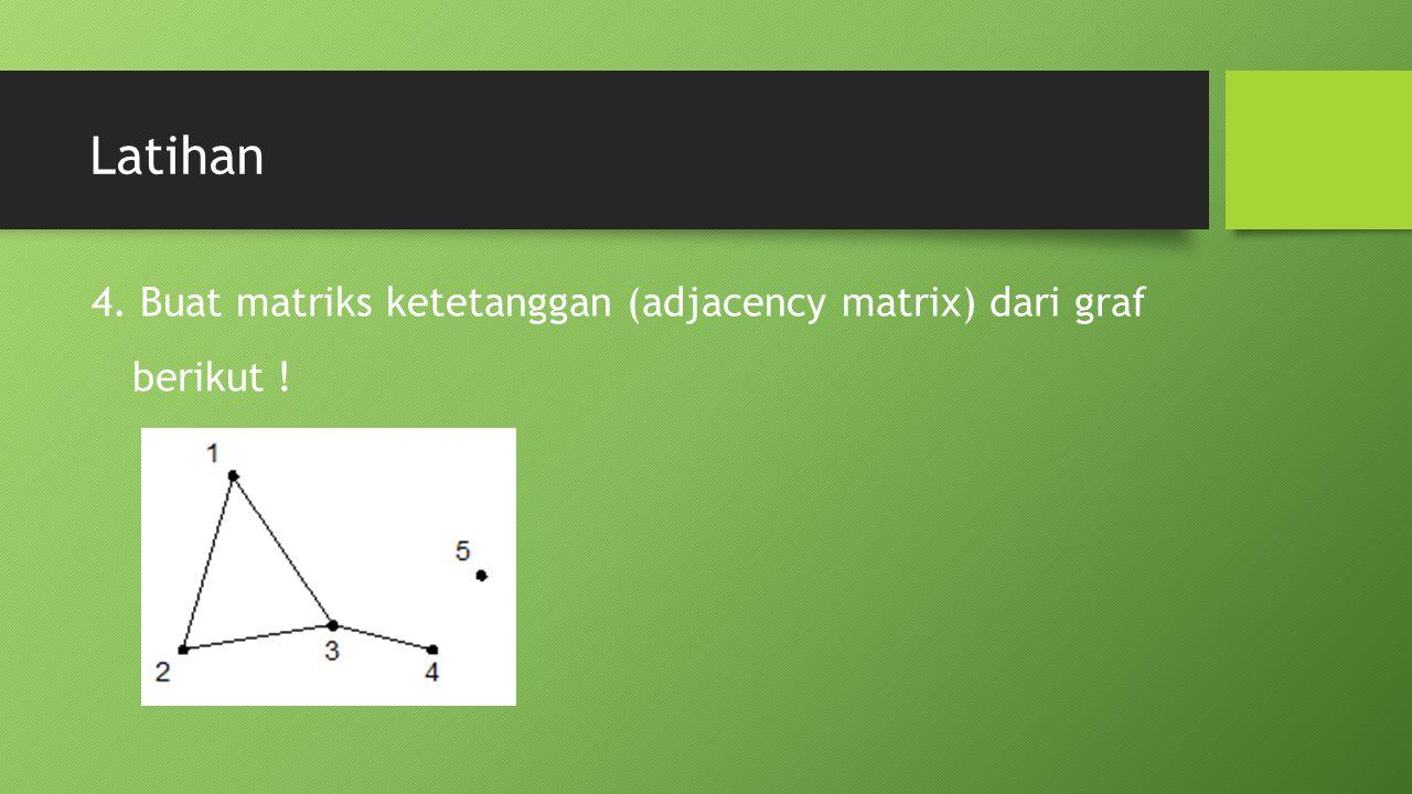 Latihan 4. Buat matriks ketetanggan (adjacency matrix) dari graf berikut !