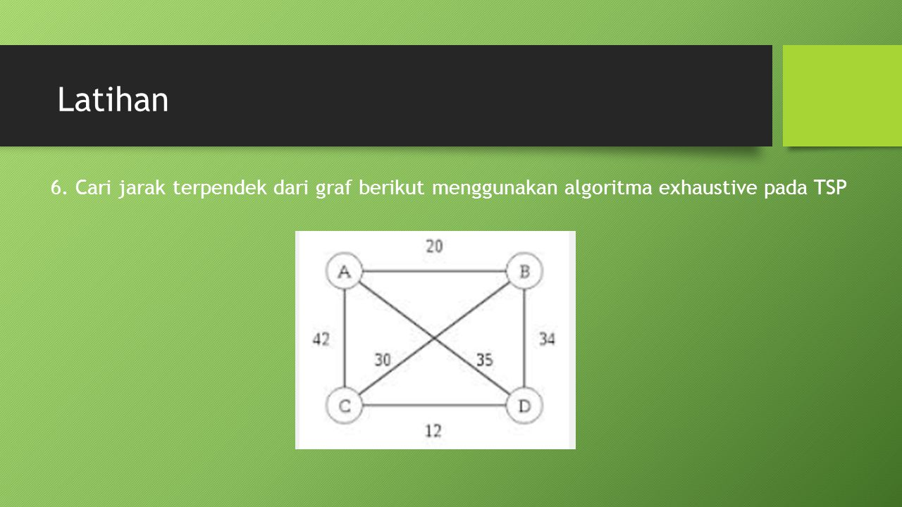 Latihan 6. Cari jarak terpendek dari graf berikut menggunakan algoritma exhaustive pada TSP