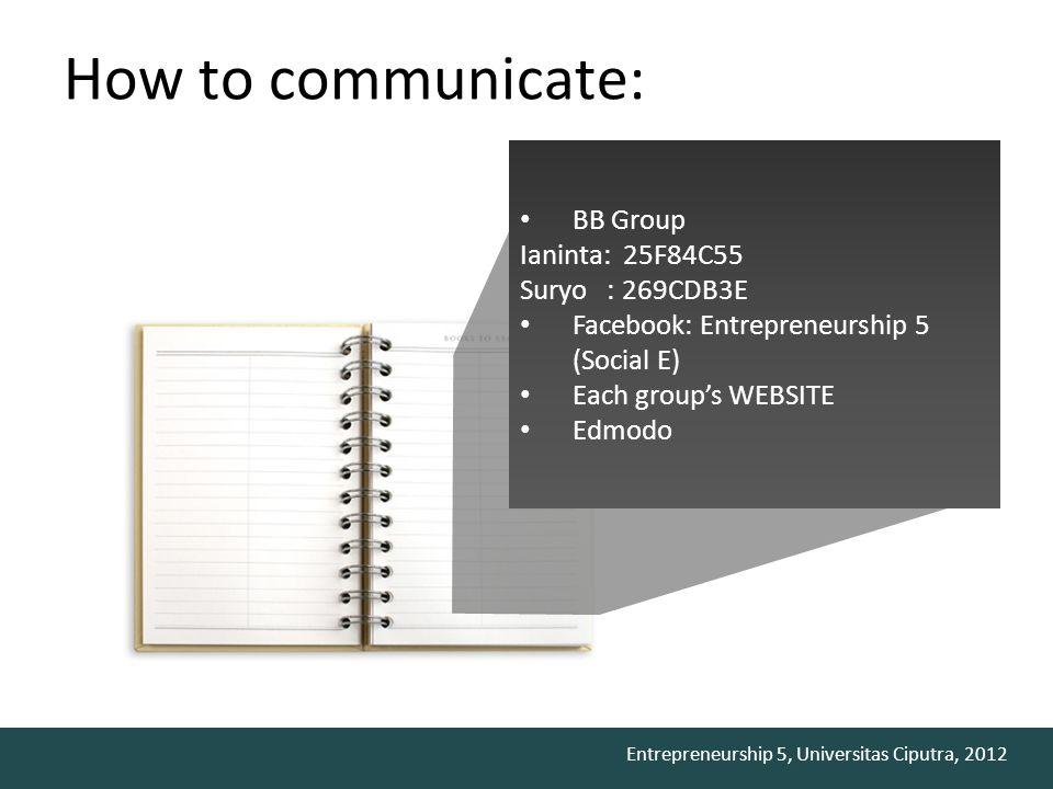 Entrepreneurship 5, Universitas Ciputra, 2012 How to communicate: BB Group Ianinta: 25F84C55 Suryo : 269CDB3E Facebook: Entrepreneurship 5 (Social E)
