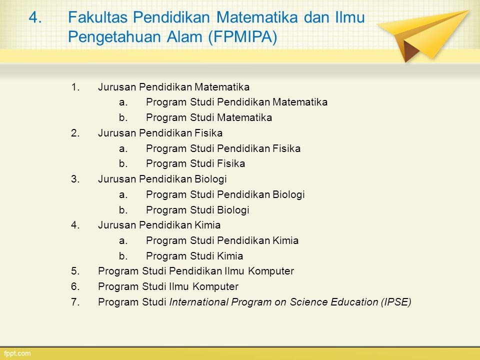 4.Fakultas Pendidikan Matematika dan Ilmu Pengetahuan Alam (FPMIPA) 1.Jurusan Pendidikan Matematika a.Program Studi Pendidikan Matematika b.Program St