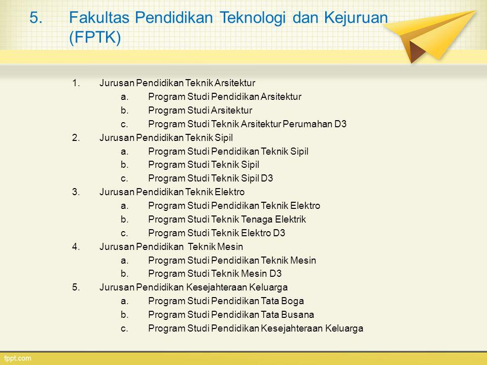 5.Fakultas Pendidikan Teknologi dan Kejuruan (FPTK) 1.Jurusan Pendidikan Teknik Arsitektur a.Program Studi Pendidikan Arsitektur b.Program Studi Arsit