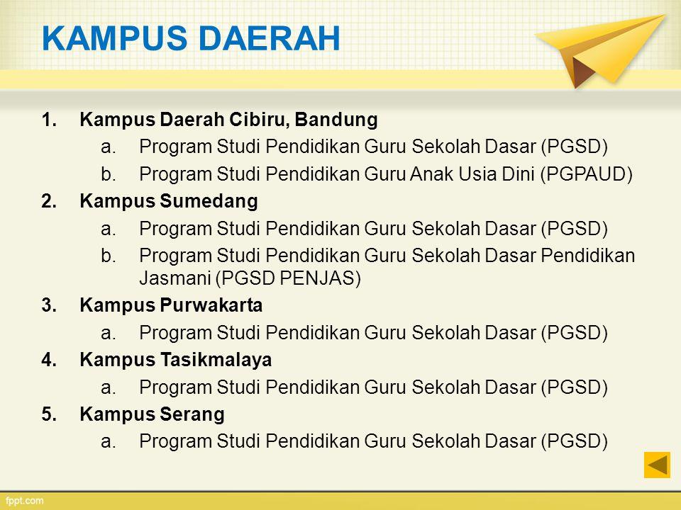 KAMPUS DAERAH 1.Kampus Daerah Cibiru, Bandung a.Program Studi Pendidikan Guru Sekolah Dasar (PGSD) b.Program Studi Pendidikan Guru Anak Usia Dini (PGP