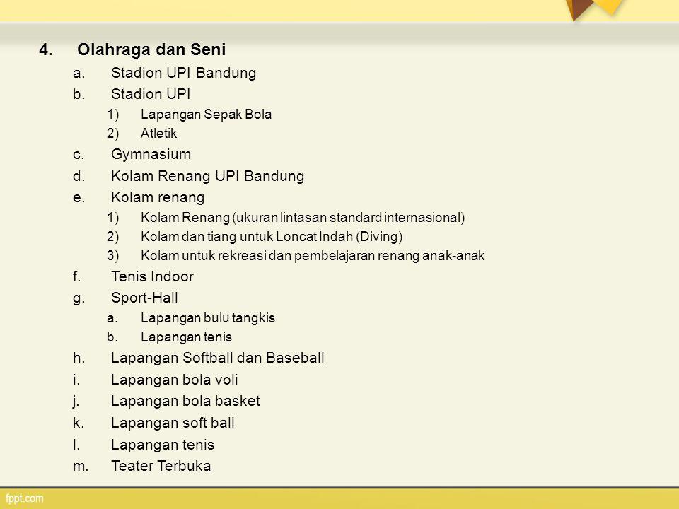 4.Olahraga dan Seni a.Stadion UPI Bandung b.Stadion UPI 1)Lapangan Sepak Bola 2)Atletik c.Gymnasium d.Kolam Renang UPI Bandung e.Kolam renang 1)Kolam