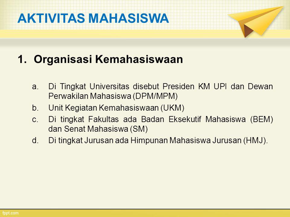 AKTIVITAS MAHASISWA 1.Organisasi Kemahasiswaan a.Di Tingkat Universitas disebut Presiden KM UPI dan Dewan Perwakilan Mahasiswa (DPM/MPM) b.Unit Kegiat