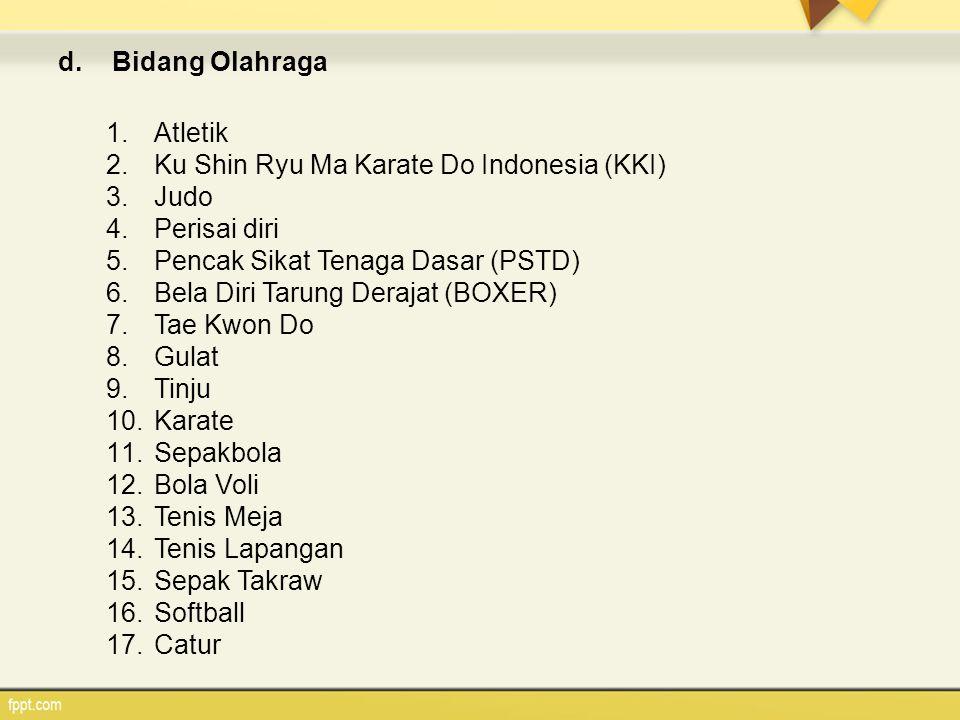 d.Bidang Olahraga 1.Atletik 2.Ku Shin Ryu Ma Karate Do Indonesia (KKI) 3.Judo 4.Perisai diri 5.Pencak Sikat Tenaga Dasar (PSTD) 6.Bela Diri Tarung Der