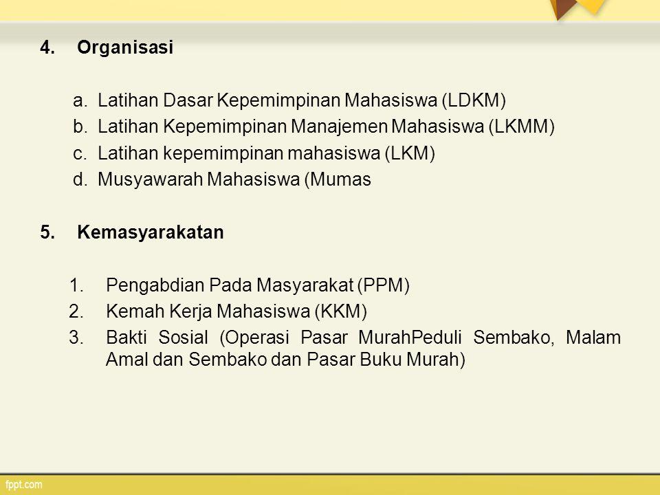 4.Organisasi a.Latihan Dasar Kepemimpinan Mahasiswa (LDKM) b.Latihan Kepemimpinan Manajemen Mahasiswa (LKMM) c.Latihan kepemimpinan mahasiswa (LKM) d.