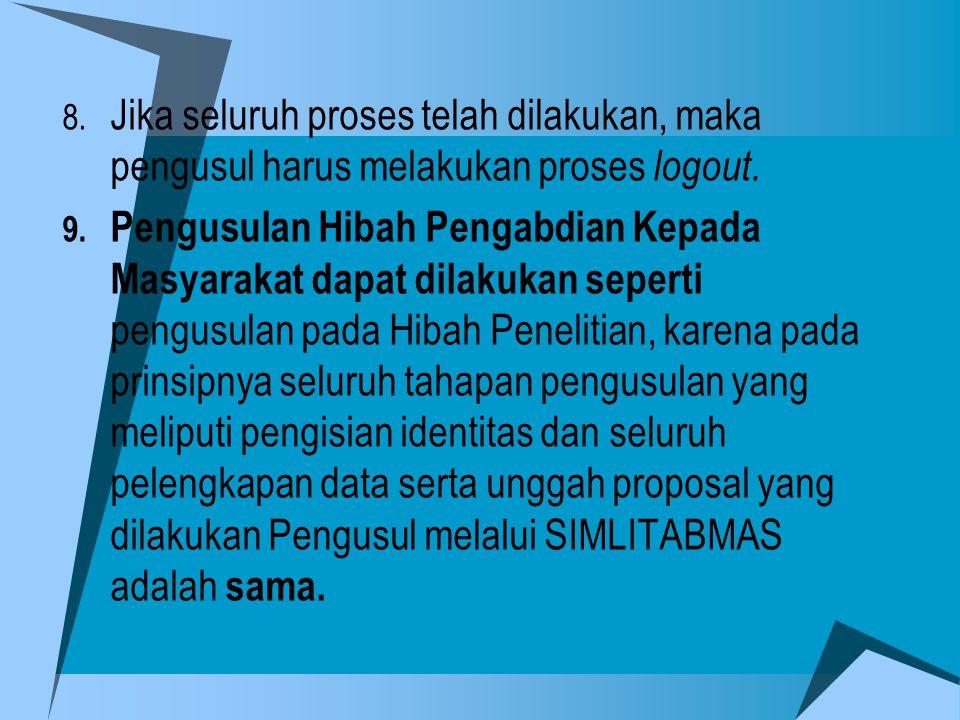 8. Jika seluruh proses telah dilakukan, maka pengusul harus melakukan proses logout. 9. Pengusulan Hibah Pengabdian Kepada Masyarakat dapat dilakukan