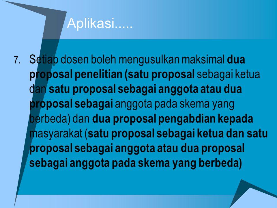 7. Setiap dosen boleh mengusulkan maksimal dua proposal penelitian (satu proposal sebagai ketua dan satu proposal sebagai anggota atau dua proposal se