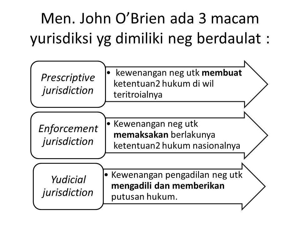 Men. John O'Brien ada 3 macam yurisdiksi yg dimiliki neg berdaulat : kewenangan neg utk membuat ketentuan2 hukum di wil teritroialnya Prescriptive jur