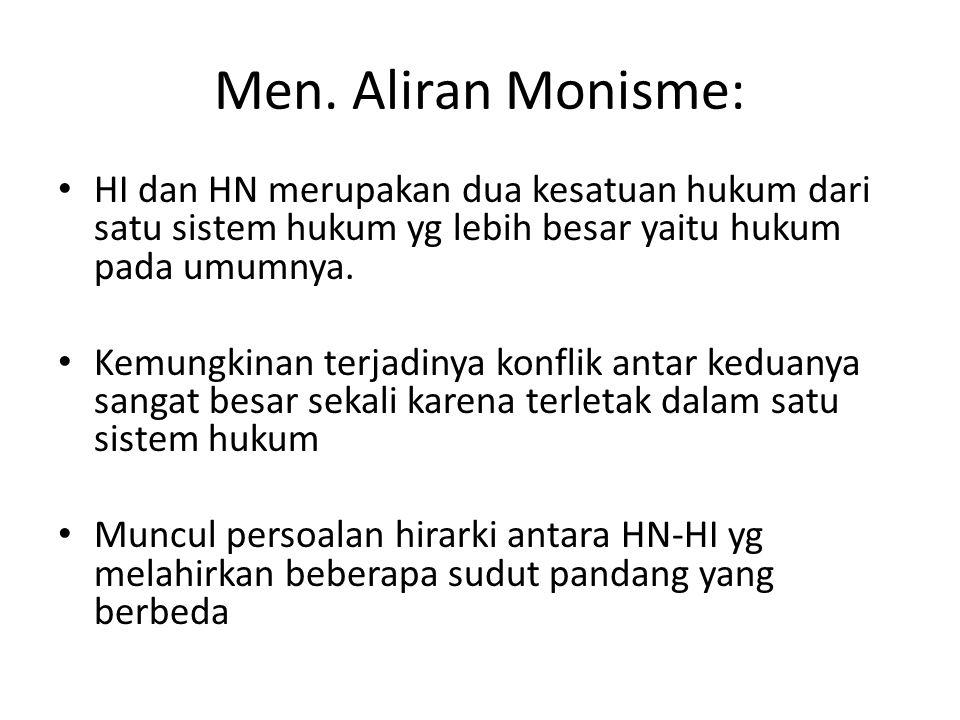 Men. Aliran Monisme: HI dan HN merupakan dua kesatuan hukum dari satu sistem hukum yg lebih besar yaitu hukum pada umumnya. Kemungkinan terjadinya kon
