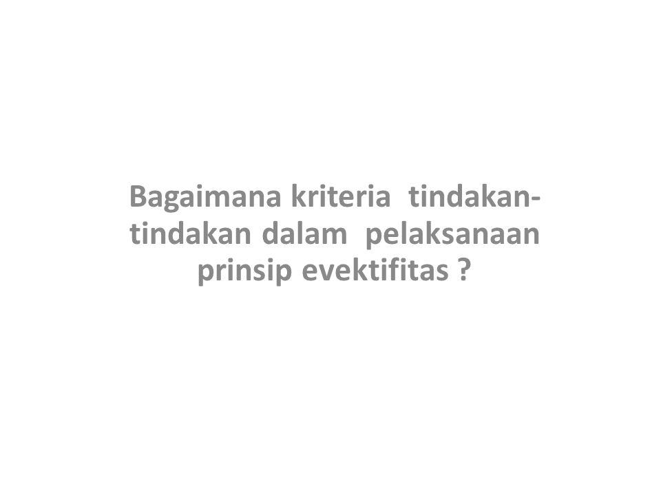 Bagaimana kriteria tindakan- tindakan dalam pelaksanaan prinsip evektifitas ?