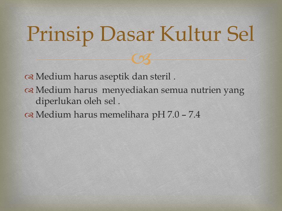   Medium harus aseptik dan steril.  Medium harus menyediakan semua nutrien yang diperlukan oleh sel.  Medium harus memelihara pH 7.0 – 7.4 Prinsip