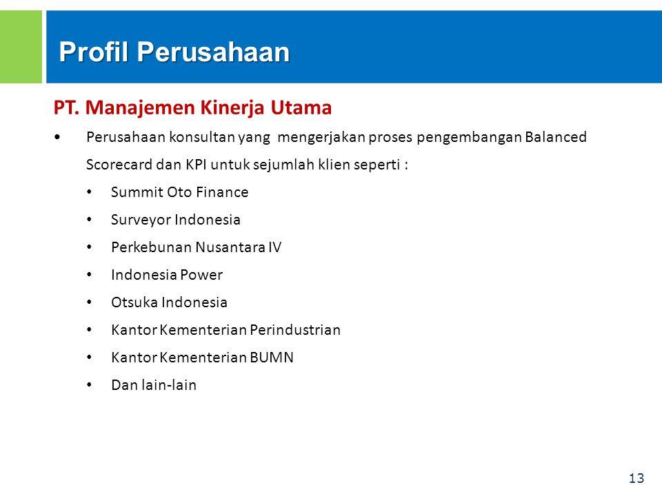 13 Profil Perusahaan PT. Manajemen Kinerja Utama Perusahaan konsultan yang mengerjakan proses pengembangan Balanced Scorecard dan KPI untuk sejumlah k