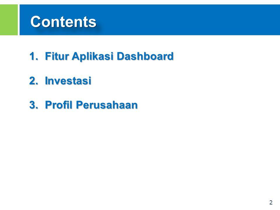 2 ContentsContents 1.Fitur Aplikasi Dashboard 2.Investasi 3.Profil Perusahaan