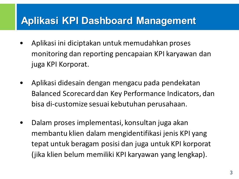 3 Aplikasi KPI Dashboard Management Aplikasi ini diciptakan untuk memudahkan proses monitoring dan reporting pencapaian KPI karyawan dan juga KPI Korp