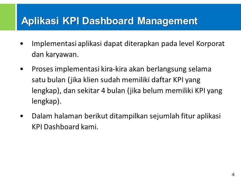 4 Aplikasi KPI Dashboard Management Implementasi aplikasi dapat diterapkan pada level Korporat dan karyawan. Proses implementasi kira-kira akan berlan