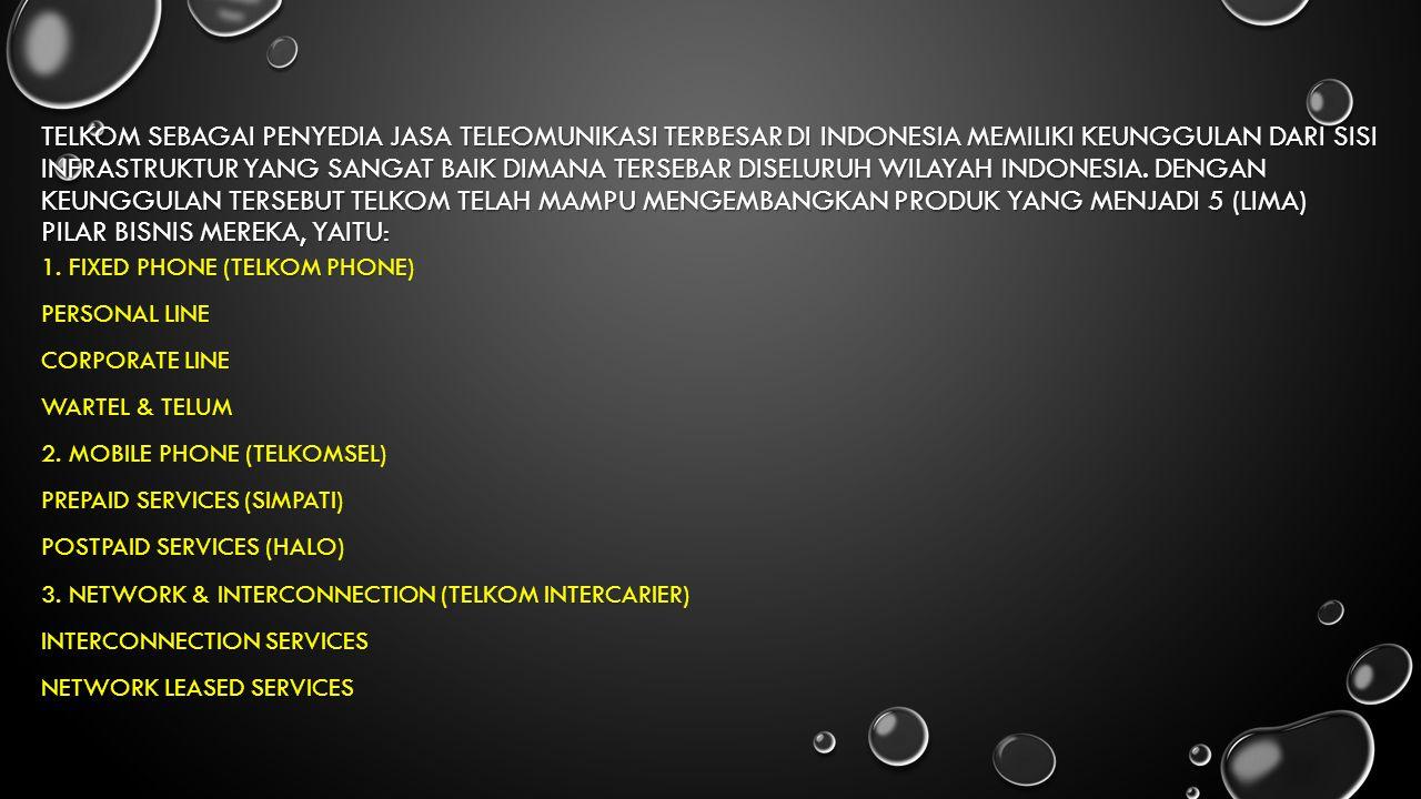 TELKOM SEBAGAI PENYEDIA JASA TELEOMUNIKASI TERBESAR DI INDONESIA MEMILIKI KEUNGGULAN DARI SISI INFRASTRUKTUR YANG SANGAT BAIK DIMANA TERSEBAR DISELURU