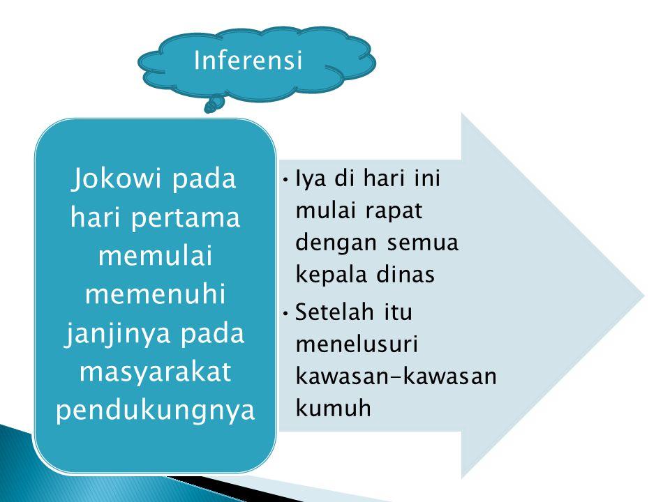 Iya di hari ini mulai rapat dengan semua kepala dinas Setelah itu menelusuri kawasan-kawasan kumuh Jokowi pada hari pertama memulai memenuhi janjinya