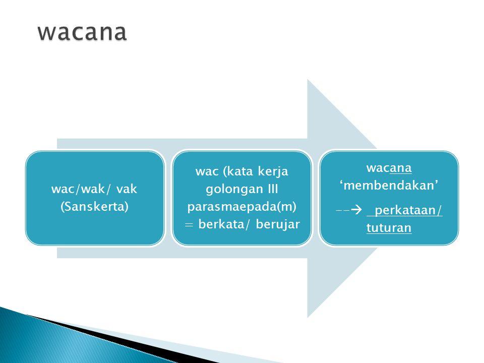 wac/wak/ vak (Sanskerta) wac (kata kerja golongan III parasmaepada(m) = berkata/ berujar wacana 'membendakan' --  perkataan/ tuturan