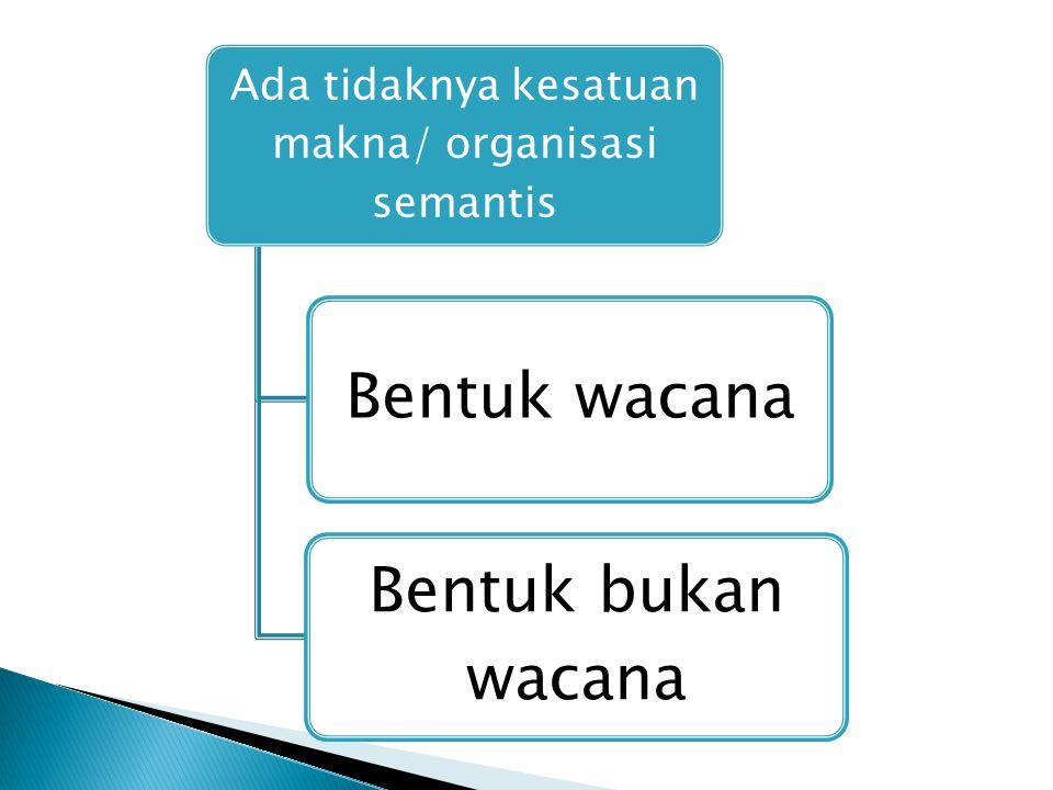 Anton M Moeliono Rentetan kalimat yang berkaitan ang menghubungkan proposisi yang satu dengan lainnya dalam kesatuan makna HG Tarigan Satuan bahasa paling lengkap, lebih tinggi dari klausa dan kalimat, kohesi dan koherensi yang baik, awal dan akhir yang jelas, berkesinambungan, secara lisan dan tertulis Harimurti Kridalaksana Direalisasikan dalam bentuk kata, kalimat, paragraf, atau karangan utuh yang membawa amanat lengkap