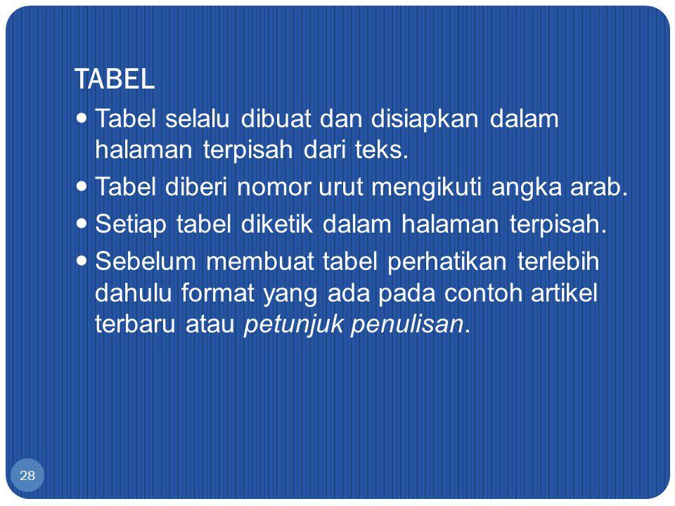 28 TABEL Tabel selalu dibuat dan disiapkan dalam halaman terpisah dari teks. Tabel diberi nomor urut mengikuti angka arab. Setiap tabel diketik dalam