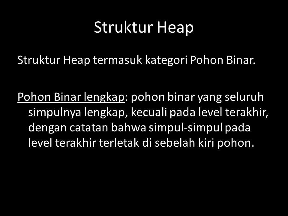 Struktur Heap Struktur Heap termasuk kategori Pohon Binar.