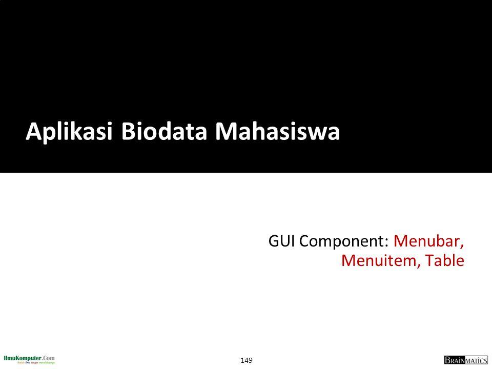 149 GUI Component: Menubar, Menuitem, Table Aplikasi Biodata Mahasiswa