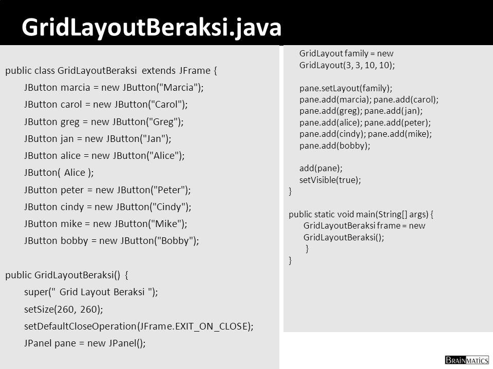39 GridLayoutBeraksi.java public class GridLayoutBeraksi extends JFrame { JButton marcia = new JButton(