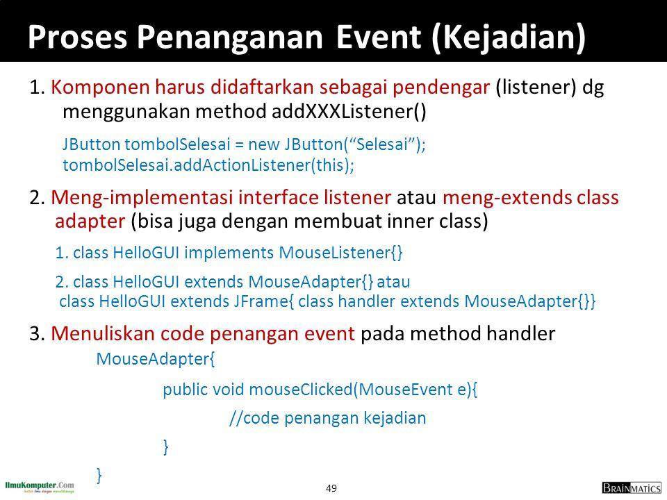 49 Proses Penanganan Event (Kejadian) 1. Komponen harus didaftarkan sebagai pendengar (listener) dg menggunakan method addXXXListener() JButton tombol