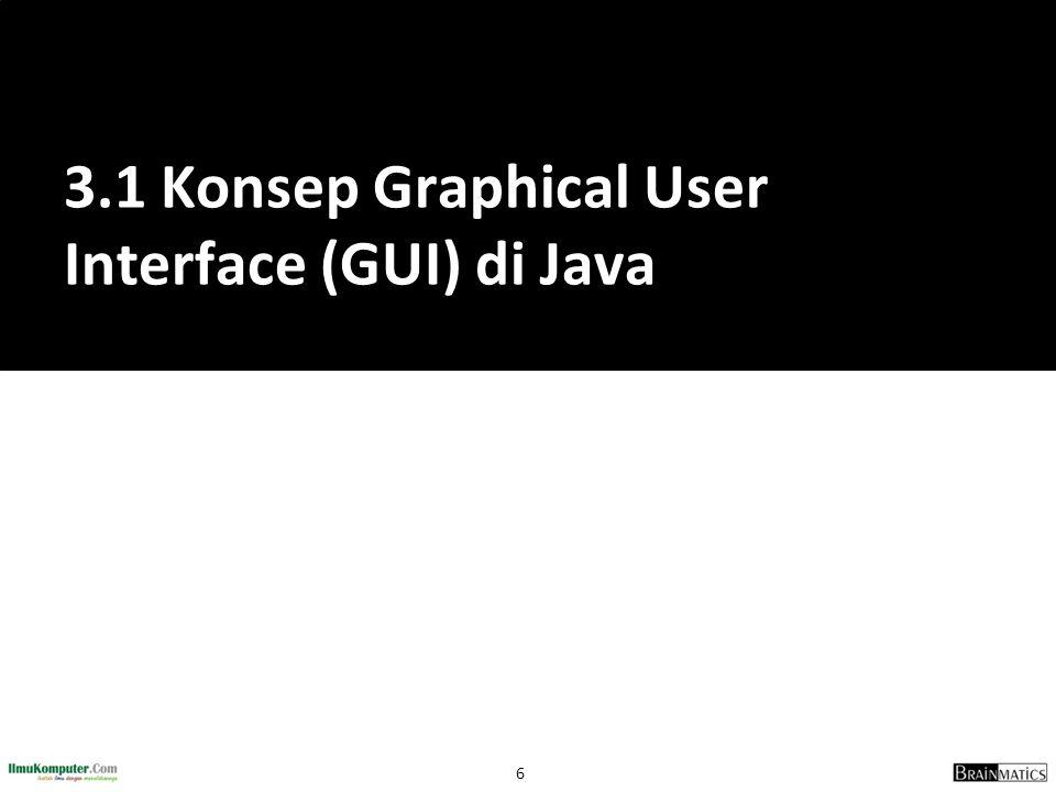 17 FrameBeraksi.java public class FrameBeraksi { public static void main(String[] args){ JFrame frame = new JFrame( Frame Beraksi ); frame.setDefaultCloseOperation(JFrame.EXIT_ON_CLOSE); JLabel emptyLabel = new JLabel( Frame Beraksi ); frame.getContentPane().add(emptyLabel); frame.setSize(400,200); frame.setVisible(true); }