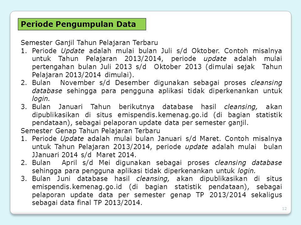 12 Periode Pengumpulan Data Semester Ganjil Tahun Pelajaran Terbaru 1.Periode Update adalah mulai bulan Juli s/d Oktober. Contoh misalnya untuk Tahun