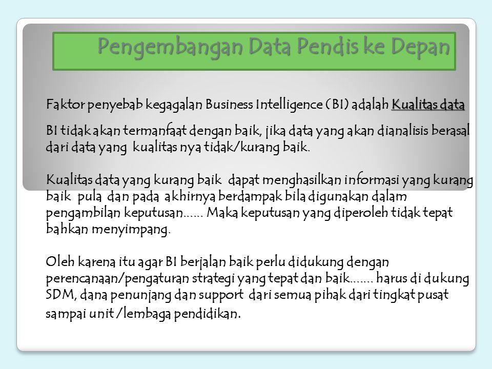 Pengembangan Data Pendis ke Depan Kualitas data Faktor penyebab kegagalan Business Intelligence (BI) adalah Kualitas data BI tidak akan termanfaat den
