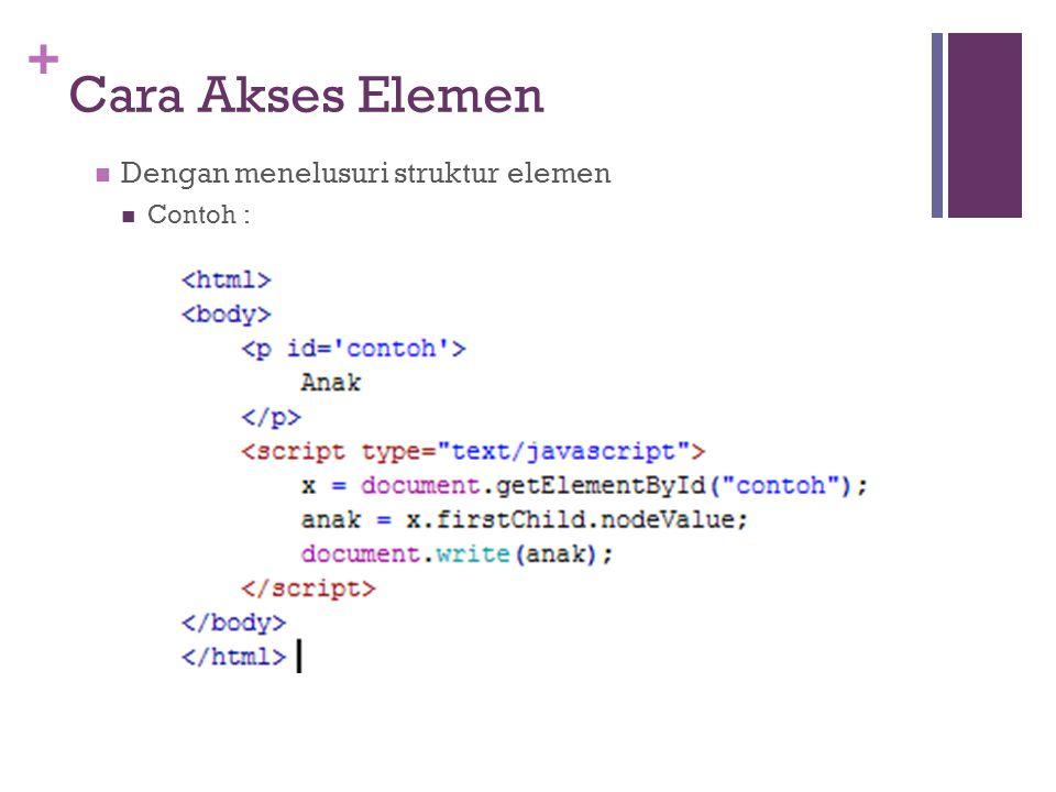 + Cara Akses Elemen Dengan menelusuri struktur elemen Contoh :