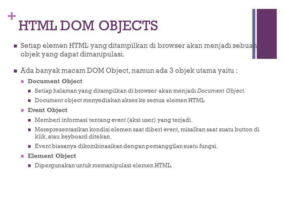+ HTML DOM OBJECTS Setiap elemen HTML yang ditampilkan di browser akan menjadi sebuah objek yang dapat dimanipulasi. Ada banyak macam DOM Object, namu