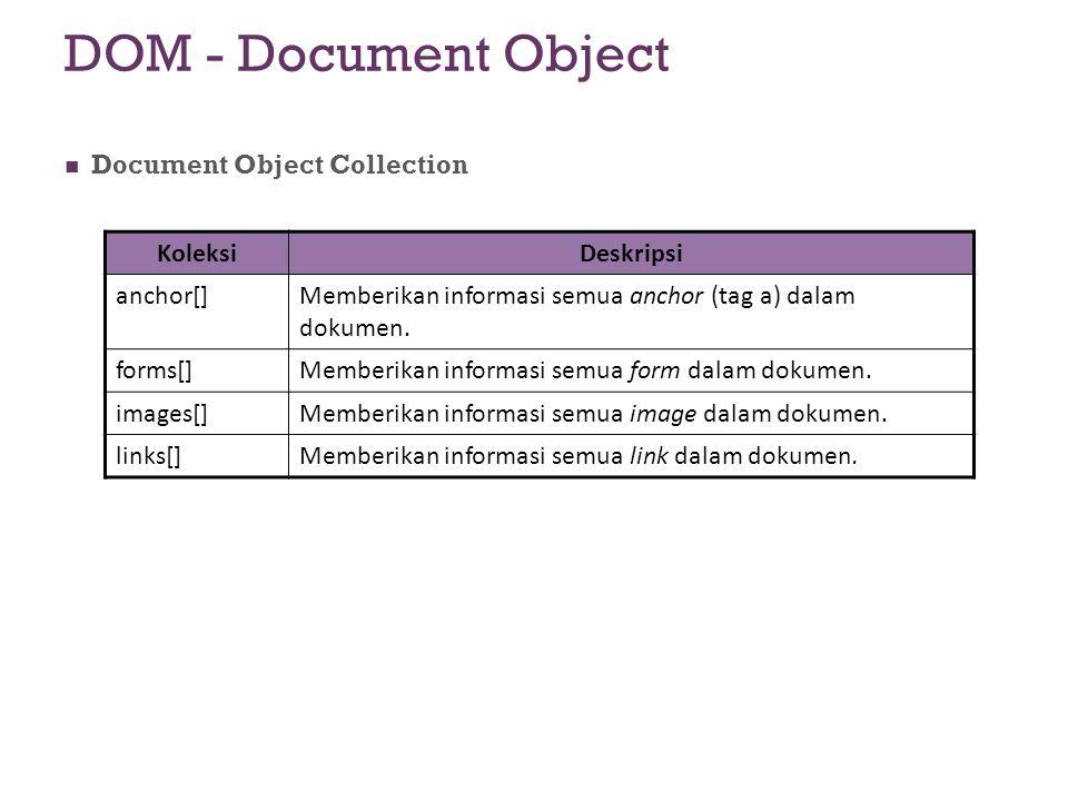 DOM - Document Object Document Object Collection KoleksiDeskripsi anchor[]Memberikan informasi semua anchor (tag a) dalam dokumen. forms[]Memberikan i