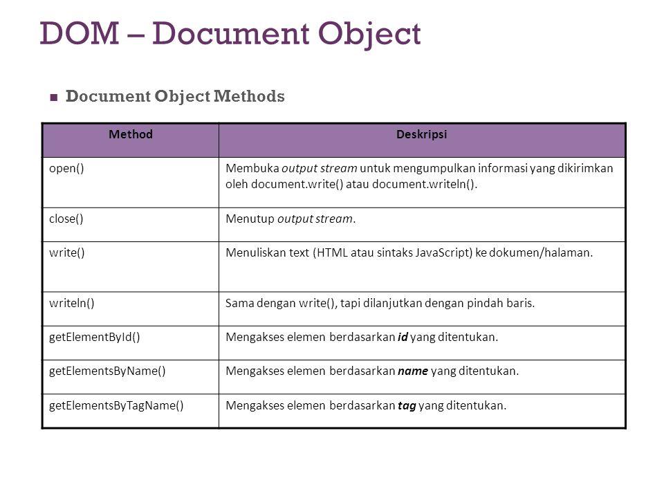 DOM – Document Object Document Object Methods MethodDeskripsi open()Membuka output stream untuk mengumpulkan informasi yang dikirimkan oleh document.w