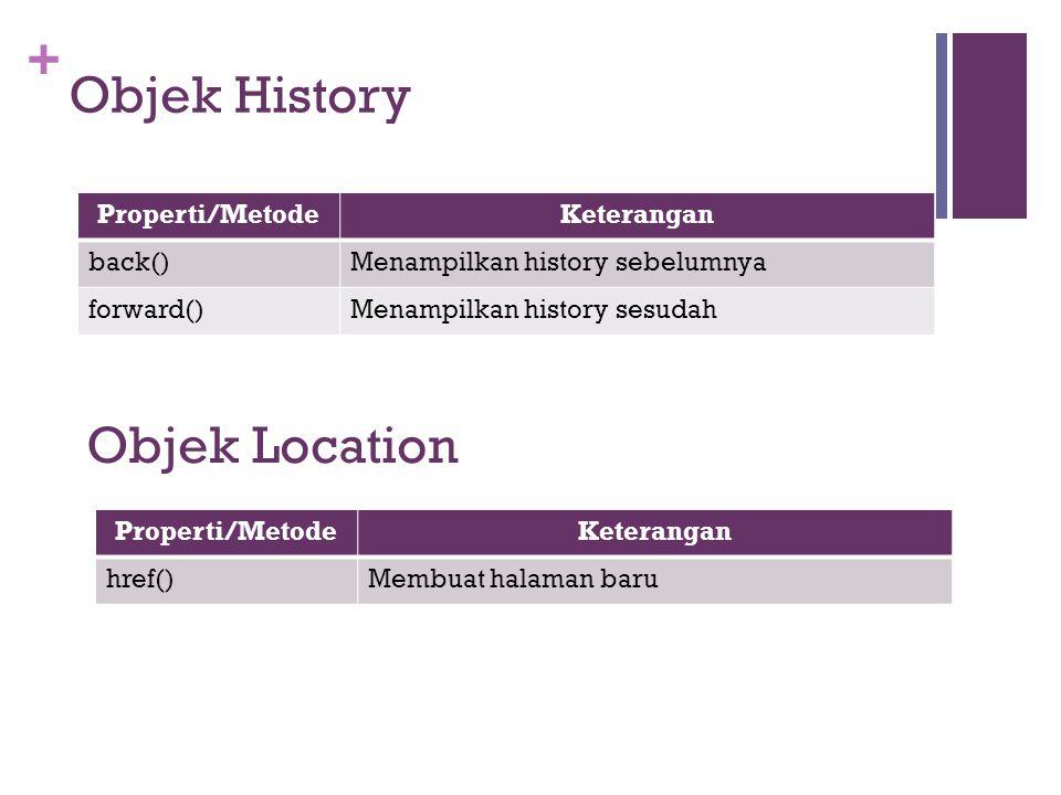 + Properti/MetodeKeterangan back()Menampilkan history sebelumnya forward()Menampilkan history sesudah Objek History Properti/MetodeKeterangan href()Me