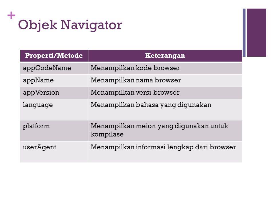 + Properti/MetodeKeterangan appCodeNameMenampilkan kode browser appNameMenampilkan nama browser appVersionMenampilkan versi browser languageMenampilka