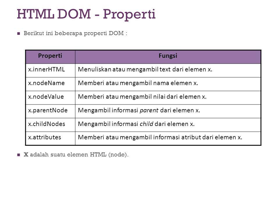 HTML DOM - Properti Berikut ini beberapa properti DOM : X adalah suatu elemen HTML (node). PropertiFungsi x.innerHTMLMenuliskan atau mengambil text da